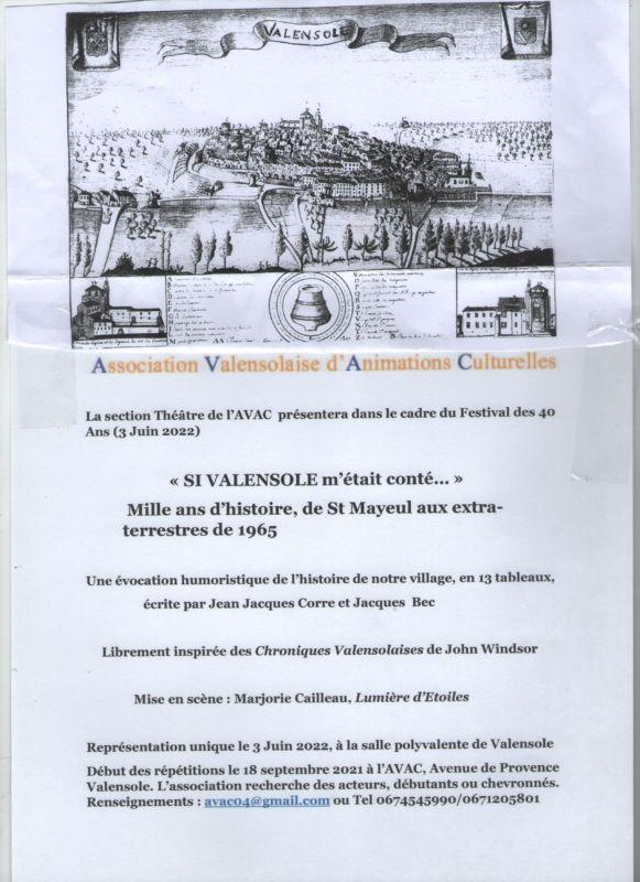 Affiche Théâtre Si Valensole...